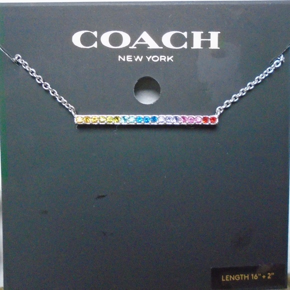 Coach Jewelry - COACH RAINBOW CRYSTAL BAR PAVE PENDANT NECKLACE